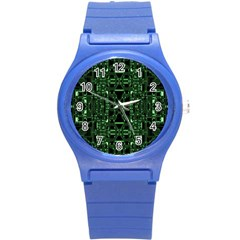 An Overly Large Geometric Representation Of A Circuit Board Round Plastic Sport Watch (s) by Simbadda