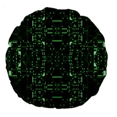 An Overly Large Geometric Representation Of A Circuit Board Large 18  Premium Round Cushions by Simbadda