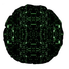 An Overly Large Geometric Representation Of A Circuit Board Large 18  Premium Flano Round Cushions by Simbadda