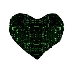 An Overly Large Geometric Representation Of A Circuit Board Standard 16  Premium Flano Heart Shape Cushions by Simbadda