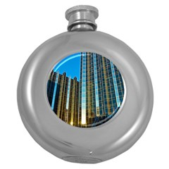 Two Abstract Architectural Patterns Round Hip Flask (5 Oz) by Simbadda