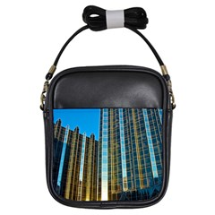 Two Abstract Architectural Patterns Girls Sling Bags by Simbadda