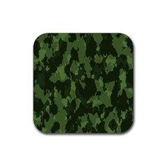 Camouflage Green Army Texture Rubber Coaster (square)  by Simbadda
