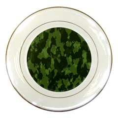 Camouflage Green Army Texture Porcelain Plates by Simbadda
