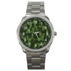 Camouflage Green Army Texture Sport Metal Watch by Simbadda