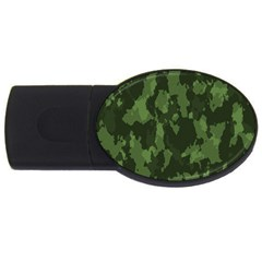 Camouflage Green Army Texture Usb Flash Drive Oval (4 Gb) by Simbadda