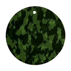 Camouflage Green Army Texture Round Ornament (two Sides) by Simbadda