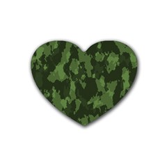 Camouflage Green Army Texture Rubber Coaster (heart)  by Simbadda