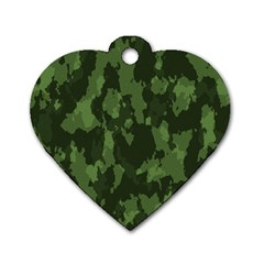 Camouflage Green Army Texture Dog Tag Heart (one Side) by Simbadda