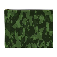 Camouflage Green Army Texture Cosmetic Bag (xl) by Simbadda