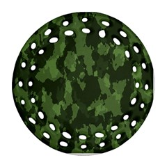 Camouflage Green Army Texture Ornament (round Filigree) by Simbadda