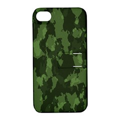 Camouflage Green Army Texture Apple Iphone 4/4s Hardshell Case With Stand by Simbadda