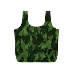 Camouflage Green Army Texture Full Print Recycle Bags (s)  by Simbadda