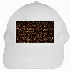 Pixel Pattern Colorful And Glowing Pixelated White Cap by Simbadda