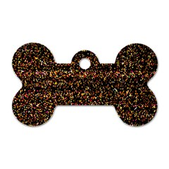 Pixel Pattern Colorful And Glowing Pixelated Dog Tag Bone (one Side) by Simbadda