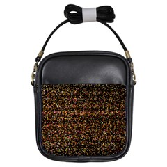 Pixel Pattern Colorful And Glowing Pixelated Girls Sling Bags by Simbadda