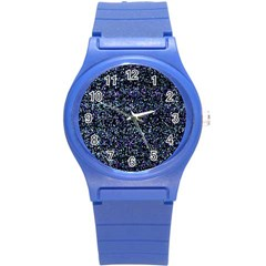 Pixel Colorful And Glowing Pixelated Pattern Round Plastic Sport Watch (s) by Simbadda