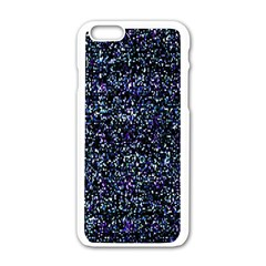 Pixel Colorful And Glowing Pixelated Pattern Apple Iphone 6/6s White Enamel Case by Simbadda