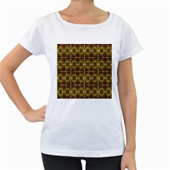 Seamless Symmetry Pattern Women s Loose Fit T Shirt (white)