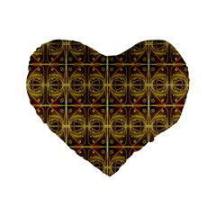 Seamless Symmetry Pattern Standard 16  Premium Flano Heart Shape Cushions by Simbadda
