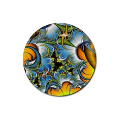 Fractal Background With Abstract Streak Shape Rubber Round Coaster (4 Pack)  by Simbadda
