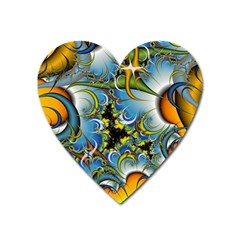 Fractal Background With Abstract Streak Shape Heart Magnet by Simbadda