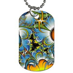 Fractal Background With Abstract Streak Shape Dog Tag (two Sides) by Simbadda