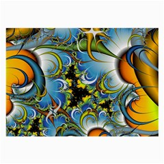 Fractal Background With Abstract Streak Shape Large Glasses Cloth by Simbadda