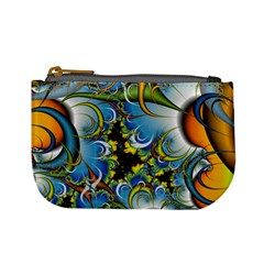 Fractal Background With Abstract Streak Shape Mini Coin Purses by Simbadda