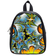 Fractal Background With Abstract Streak Shape School Bags (small)  by Simbadda