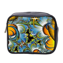 Fractal Background With Abstract Streak Shape Mini Toiletries Bag 2 Side