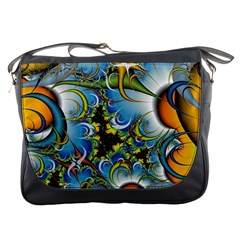 Fractal Background With Abstract Streak Shape Messenger Bags by Simbadda