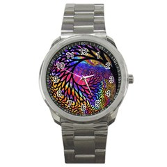 3d Fractal Mandelbulb Sport Metal Watch by Simbadda