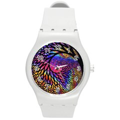 3d Fractal Mandelbulb Round Plastic Sport Watch (m) by Simbadda