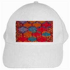 Abstract Art Pattern White Cap by Simbadda