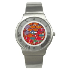 Abstract Art Pattern Stainless Steel Watch by Simbadda