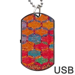 Abstract Art Pattern Dog Tag Usb Flash (two Sides) by Simbadda