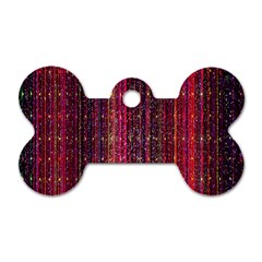 Colorful And Glowing Pixelated Pixel Pattern Dog Tag Bone (two Sides) by Simbadda