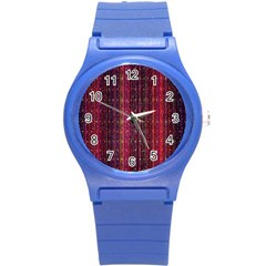 Colorful And Glowing Pixelated Pixel Pattern Round Plastic Sport Watch (s) by Simbadda