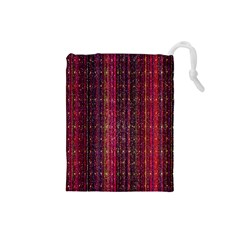 Colorful And Glowing Pixelated Pixel Pattern Drawstring Pouches (small)  by Simbadda