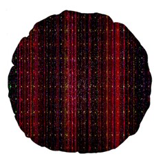 Colorful And Glowing Pixelated Pixel Pattern Large 18  Premium Flano Round Cushions by Simbadda
