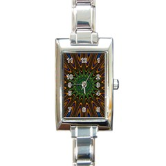 Vibrant Colorful Abstract Pattern Seamless Rectangle Italian Charm Watch by Simbadda