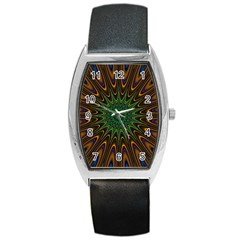 Vibrant Colorful Abstract Pattern Seamless Barrel Style Metal Watch by Simbadda