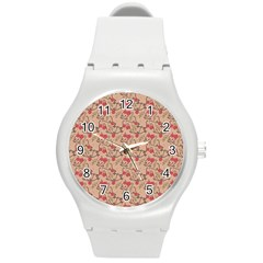 Vintage Flower Pattern  Round Plastic Sport Watch (m) by TastefulDesigns