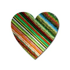 Colorful Stripe Extrude Background Heart Magnet by Simbadda