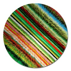 Colorful Stripe Extrude Background Magnet 5  (round) by Simbadda