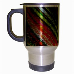 Colorful Stripe Extrude Background Travel Mug (silver Gray) by Simbadda