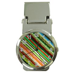 Colorful Stripe Extrude Background Money Clip Watches by Simbadda