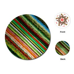 Colorful Stripe Extrude Background Playing Cards (round)  by Simbadda