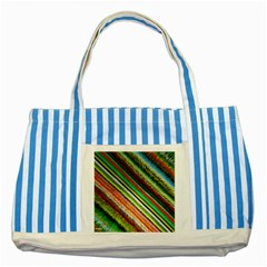 Colorful Stripe Extrude Background Striped Blue Tote Bag by Simbadda